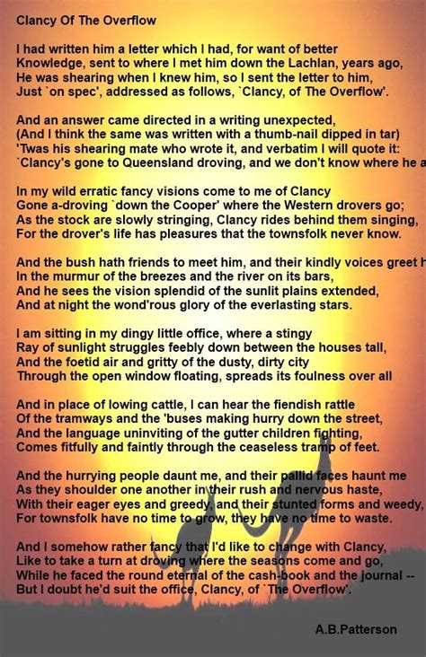 Clancy Of The Overflow Essay by 12 Best Banjo Paterson Images On Banjo From Snowy River And Poem
