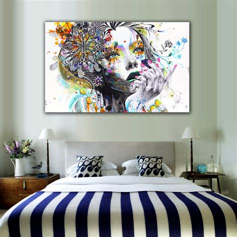 art on bedroom walls 1 piece modern wall art girl with flowers unframed canvas