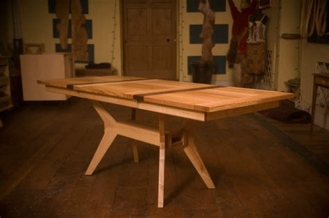 extending dining kitchen table in ash and walnut organic
