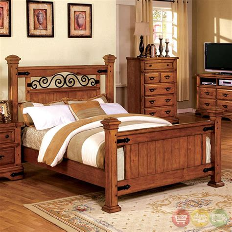 Rod Iron Bedroom Furniture Sonoma Country American Oak Poster Bedroom Set With Rod Iron Design Cm7496