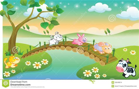 Farm Animals Playing With Beautiful Scenery Stock