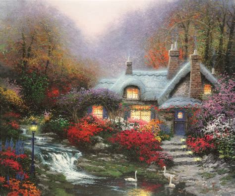 Evening At Swanbrooke Cottage The Thomas Kinkade Company Cottage Paintings By Kinkade