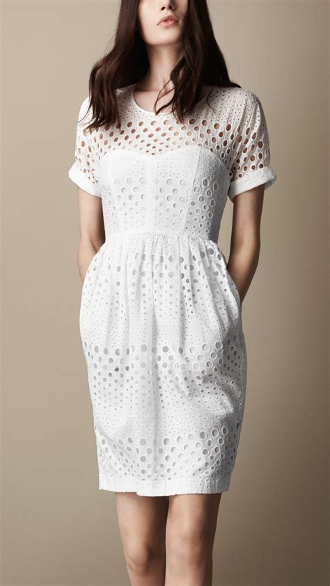 Broderie Dress lyst burberry brit broderie anglaise tulip dress in white