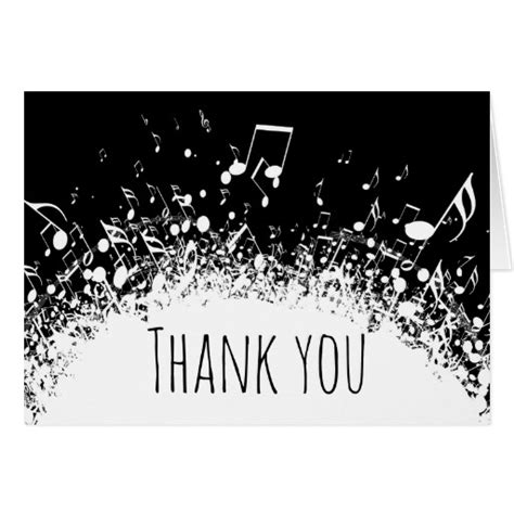 printable music thank you cards music thank you black and white card zazzle
