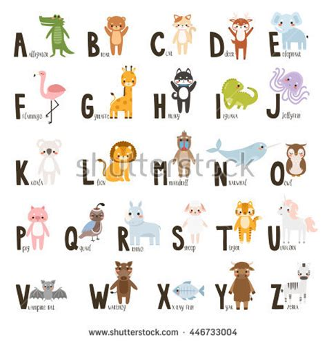 stickers alphabet animals from u to z stock vector alphabet set animals letters stockvektor