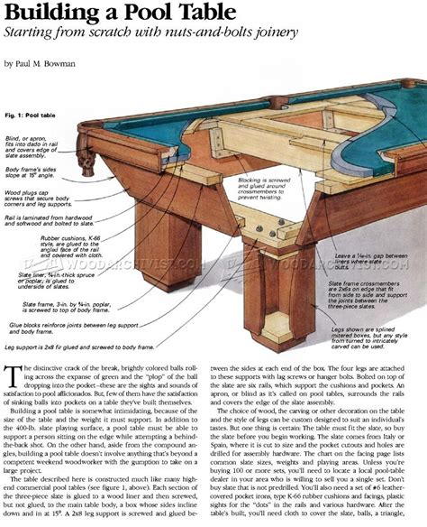 build pool table woodworking plans  projects