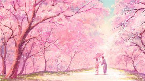 Wallpaper Couple Pink   anime pink tree couple kimono wallpaper 1920x1080
