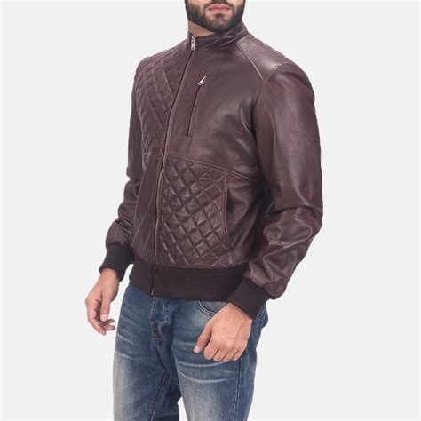 Jaket Bomber Atention Maroon mens moda quilted maroon leather bomber jacket