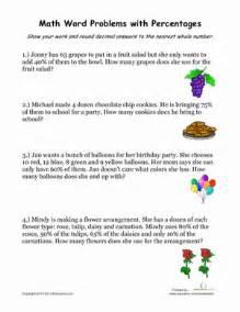 percentage word problems 2 worksheet education com