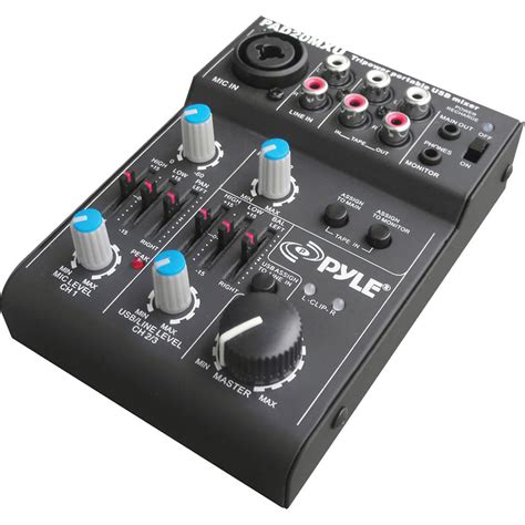 Mixer Audio Profesional pyle pro 5 channel compact audio mixer with usb pad20mxu b h