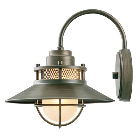 Outdoor Light Sconces Globe Electric Liam Collection 1 Light Bronze Outdoor Wall Sconce With Frosted White Glass 44097