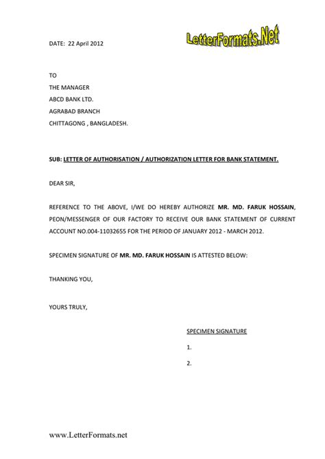 authorization letter format  word   formats