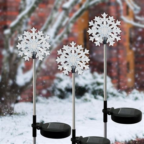 Solar Snowflake Garden Stake With Led Light Garden And Solar Snowflake Lights