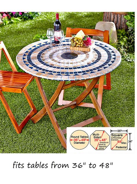 Patio Table Elastic Cover Mosaic Tile Elastic Fitted Vinyl Outdoor 48 Quot Patio