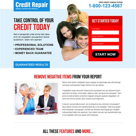 Credit Repair Landing Page Design Template To Boost Your Credit Repair Business Credit Repair Landing Page Template