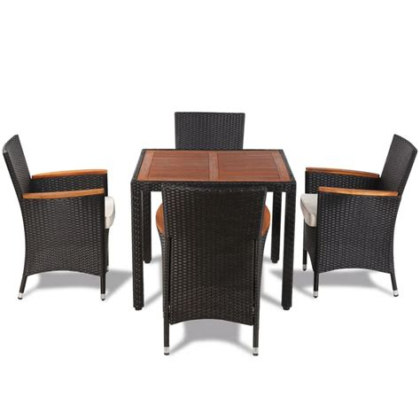 vidaxl poly rattan garden dining set with 4 chairs and