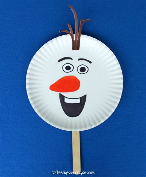 olaf printable puppet frozen olaf inspired puppet craft coffee cups and crayons