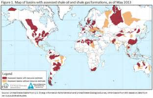 World shale gas map map of 95 major basins in 42 countries