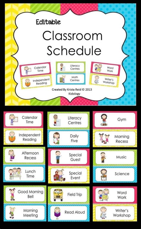 Free Classroom Picture Card Templates Printable by Editable Classroom Schedule