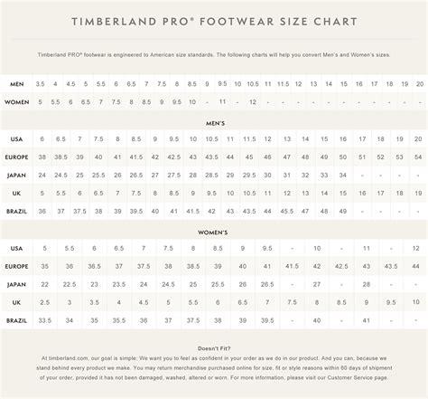 shoe size chart timberland timberland pro 174 footwear size chart timberland