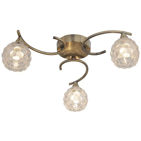 thlc antique brass 3 way ceiling light with clear