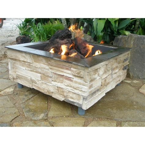 Outdoor Firepit Gas Firescapes Mountain Ledge Square Gas Pit Shopperschoice