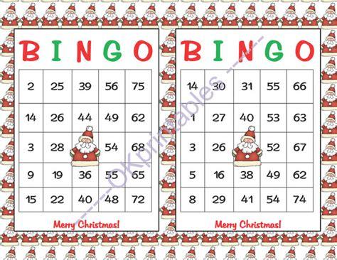 free printable christmas bingo cards numbers 60 merry christmas bingo cards instant okprintables