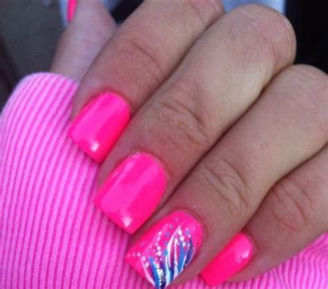 easy nail art bright colors hot pink gel nail design girly nail design pinterest