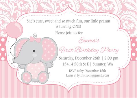 printable elephant invitations elephant birthday invitation for girls first by