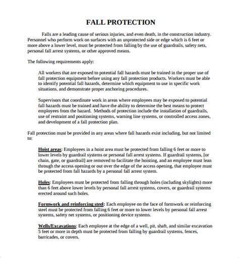 fall protection plan template sle fall protection plan template 9 free documents