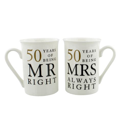 50 years anniversary golden 50 years of mr mrs right golden anniversary mug gift set