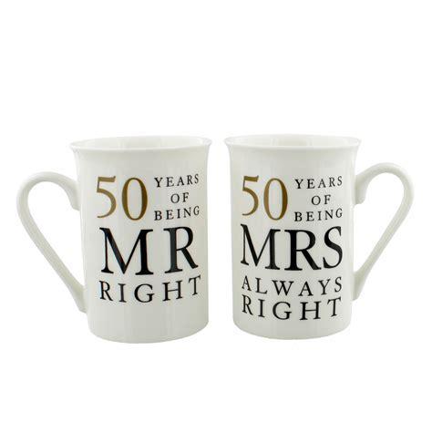 50 Years of Mr & Mrs Right Golden Anniversary Mug Gift Set