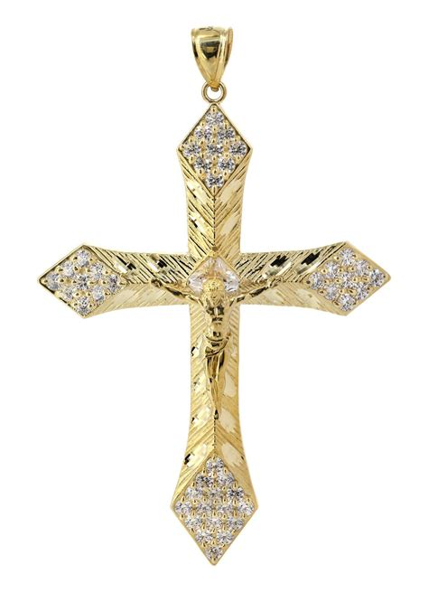 big gold cross cz 10k yellow gold pendant 13 grams