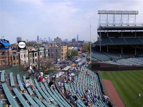 wrigley field bleacher seats chicago skyline from wrigley field bleachers