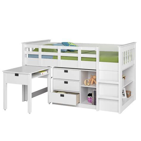 corliving madison singletwin loft bed  desk  storage
