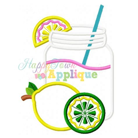 glass applique lemonade glass applique design