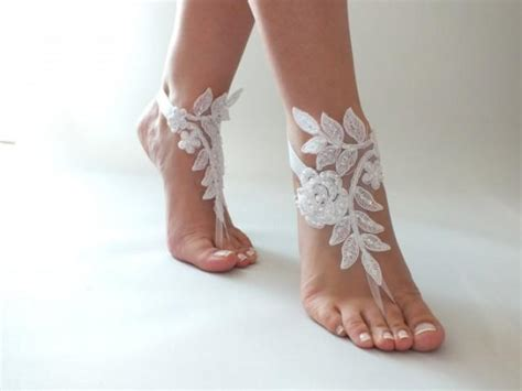 White Wedding Sandals by Free Ship Wedding Barefoot Sandals Ivory Or White