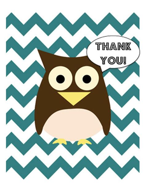 owl thank you card template free printable chevron owl thank you cards fit
