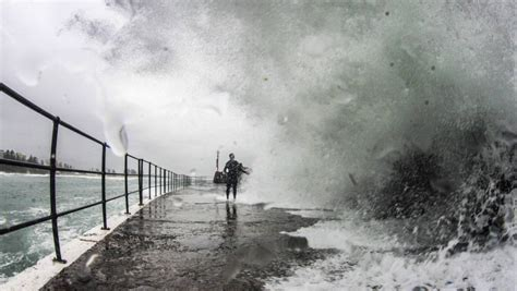 heavy weather settles in as wind driving rain hits the
