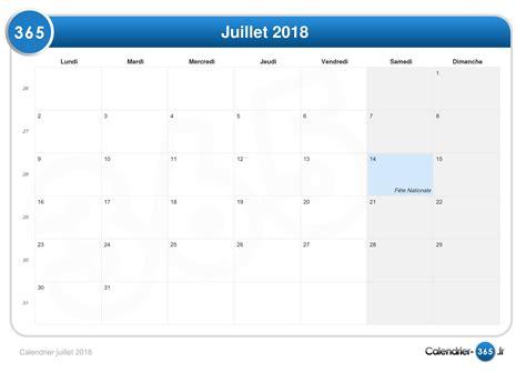 Calendrier 365 Fr 2018 Calendrier Juillet 2018