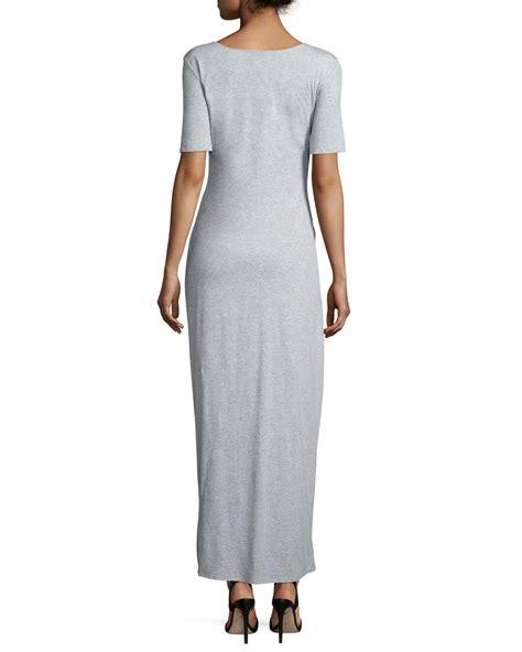 Saidah Maxi Umbrella Jersey Alijaya 1 joan vass sleeve ruched jersey maxi dress in gray grey lyst