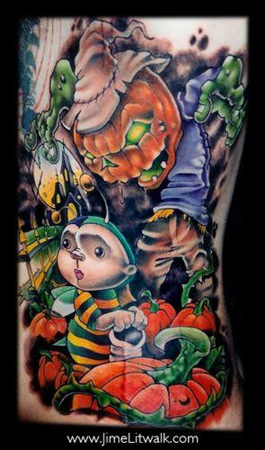 new school pumpkin tattoo jime litwalk pumpkin patch rib piece