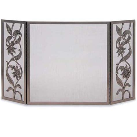 wrought iron 3 panel cast sunflower fireplace screen by