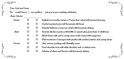 wedding menu choice template rsvp cards with a choice menu wedding planning