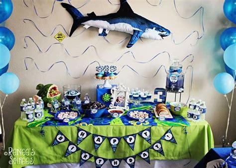 baby shark themed party kara s party ideas 187 shark party via kara s party ideas