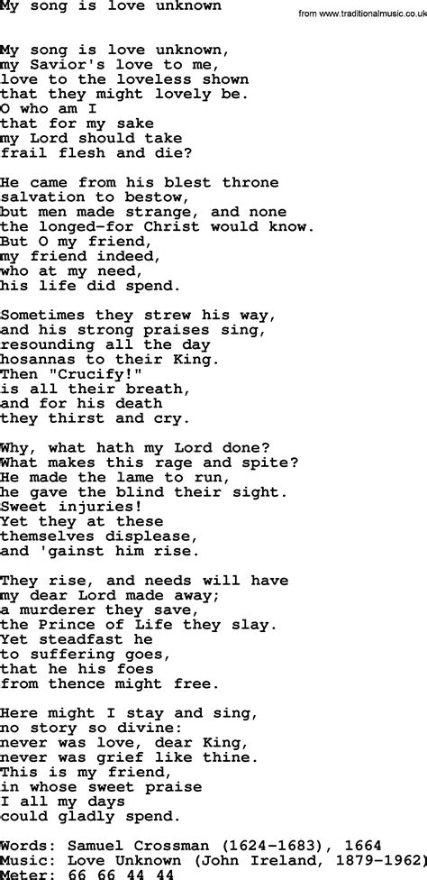 unknown lyrics hymns ancient and modern song my song is unknown