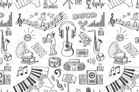 music pattern tumblr hand drawn music pattern patterns creative market