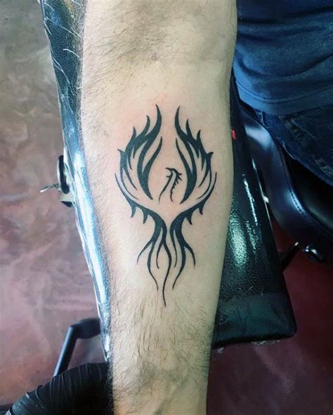 phoenix tattoo designs male inner forearm black ink designs