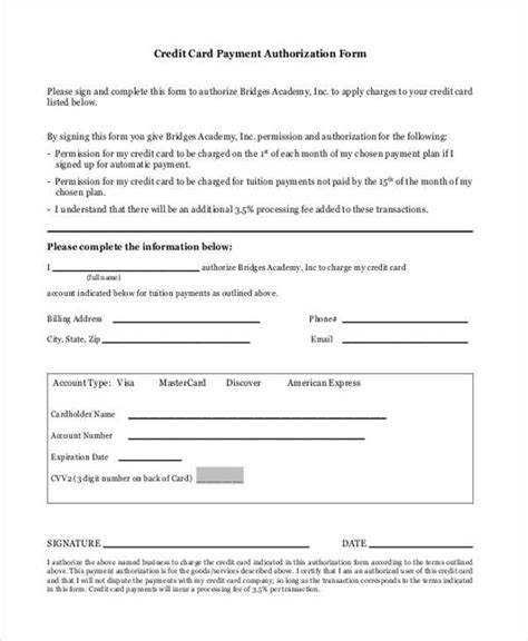 Credit Card Payment Agreement Template Authorization Form Templates