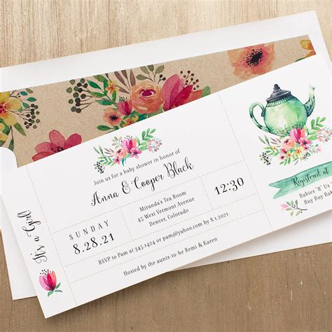 Tea Time Baby Shower by Tea Time Baby Shower Invitations With Envelope Liners